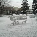 "9 1/2 "" of snow on the veranda"
