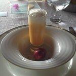 Pumpkin Soup shot with coconut cream foam on top