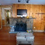 Knotty Pine & fireplace