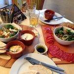 Greek platter (minus taramosalata and vine leaves) and Spanish Platter