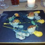 My starter - scallops with a BIG difference. Available at lunch on 12th March