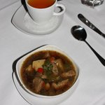 Beef & vegetable soup with hot tea