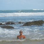 swimming in the surf