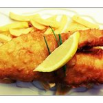 Cod and Chips served with Fresh Lemon, Chives and Homemade Tartar Sauce mmmm