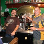 """Patrick (Padraig on the left) sharing a pint with buddy """"Glenness"""""""
