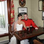 Newly weds Vanessa and Daniel sharing their first pint as Mr. and Mrs