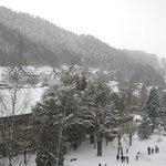 Vue sur le village, le jour de mon arrivée... sous la neige !