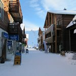 The shops at the bottom of the front piste slopes