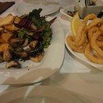 Rustic Chips, Musrooms and Salad Trio with Calamaris