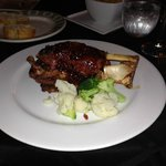 Braised Lacon (pork shank) with rasberry sauce.  Delicous!