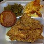 Good Stuff...fried chicken, green beans, Mac n cheese with choice of corn brea