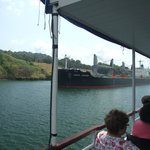 A ship coming down the canal beside our tour boat.