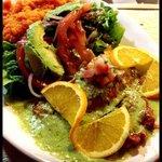 Grilled Salmon w/ a cilantro cream sauce