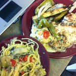 California Chicken with grilled veggies in the Lodge. Claire makes 5 star food