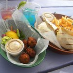 Favorite baskets - conch fritters, jerk mayo and jerk chicken wrap...great val