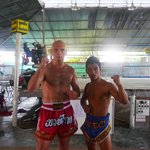 Mr Mot Dang and myself, 10 am, Chorenrit Muay Thai Camp, Koh Phangan