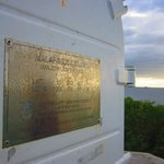The plaque on the lighthouse