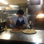 Delicious pizza with a thin base! we watched the pizza chef hand pull the doug