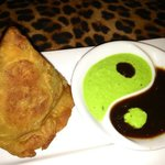 Sexy Samosa with sweet tamarind sauce and cilantro sauce. Yum!