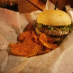 Steak Burger with Mushroom Jam/Jalepeno Ketchup, with a smoked cheddar/blue ch