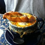 Onion soup with a lot of cheese and pretzel!