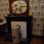 Original Mantel with Modern Room Heater