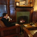 Tea and reading by the fireplace