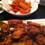 sweet potato fries and NY Butter wings (ab