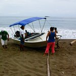 Pushing the panga out to sea