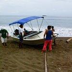 Pushing the panga out to sea