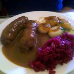 Beef rouladen with potato dumplings and red cabbage