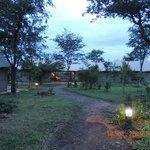 Main lodge at sunset