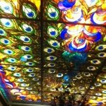 The wonderful stained glass ceiling over the bar.