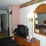 That pink thing to the left is our doorless closet. Bath door in BG.