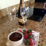 Complimentary champagne, strawberries and chocolate -- so sweet!
