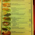Asian(Malay) menu