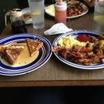 French Toast, Scrambled Eggs w/ Cheese, Home Fries, Bacon