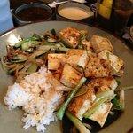 Vegetarian meal, fried tofu.