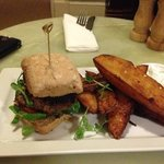 Lamb & mint burger with spicy wedges