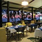 the restaurant/dining room during sunset