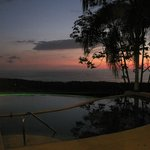 view & pool during sunset