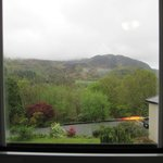 Rain soaked lower slopes of Snowdon from our room.