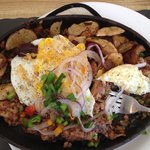The Killer Skillet!  Spicy baby red potatoes with corned bee