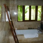 Lovely bathroom looking out into the lush gardens.