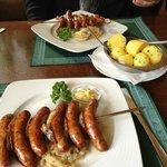 Traditional Sausage, sauerkraut, and potatoes.