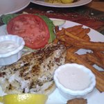 Grilled Grouper and Sweet Potato Fries