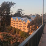 sunset glow on the North Cliff Hotel