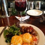 lobster eggs Benedict with red sangria