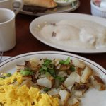 Breakfast served all day (like the sign says); two eggs, home fries, and biscuits with gravy