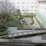 The modern garden in the hotel complex
